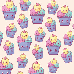 delicious ice cream in cup kawaii characters pattern