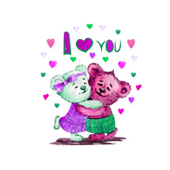 Illustration of cute bears. Watercolor. Love. Heart. Illustration for Valentine's Day. purple