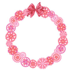 Pink Heart Flowers Wreath with Tied Bow Isolated on white Background. Great for Valentine day, Wedding, and Romantic Event Design.