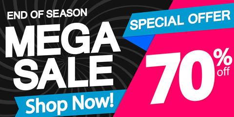 Mega Sale, poster design template, horizontal banner, special offer, end of season, vector illustration