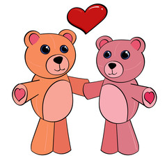 Pink Teddy Bears holding Hands
