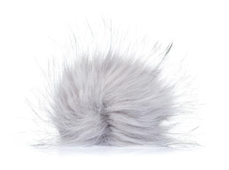 Grey fur ball isolated on white background