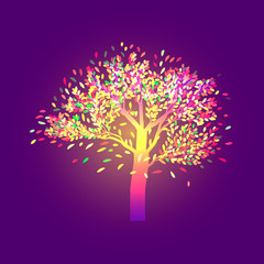 Lonely autumn tree with bright foliage, on a dark ultraviolet background