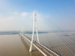 Aerial view of road transportation of Yangtze river bridge