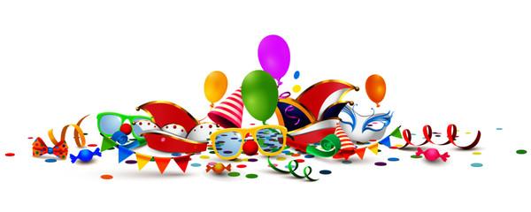 Fasching Masken, Mützen und Accessoires mit Luftballons, Girlanden und Konfetti