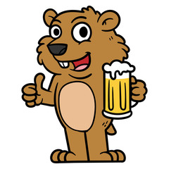 Cartoon Groundhog Character Holding a Glass of Beer