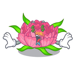 Money eye peony flower grow in mascot stems