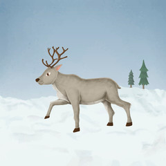 Wall Mural - Hand-drawn walking cute reindeer