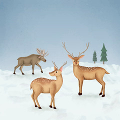 Hand-drawn two fallow deer and a moose on a snow-covered ground