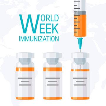 World immunization week concept, flat vector design