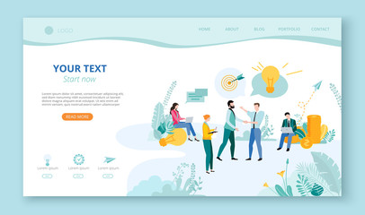 Landing page for site or web page template for business projects, partnership with people, money and space for text on white background.