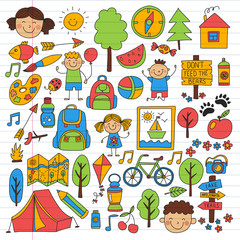 Vector set of camping, hiking icons for little children. School and kindergarten kids vacation.