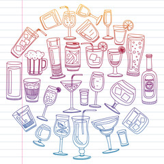 Vector set of popular cocktails for the menu. Doodle style icons.