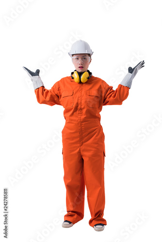 ef3a84396b4 Full body portrait of a woman worker in Mechanic Jumpsuit isolated on white  background