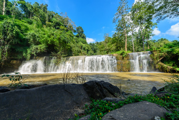 """Beautiful waterfall in natural """"Si Dit Waterfall"""" with blue sky in khao kho national park"""