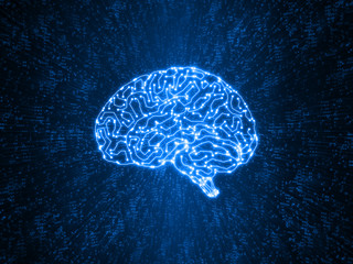 Artificial intelligence concept. glowing blue color brain circuit is processing large amount of binary data. Illustration of deep learning, machine learning using sampling set of data.
