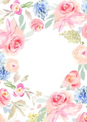 Watercolor Flower Spring Background with Pink Flowers