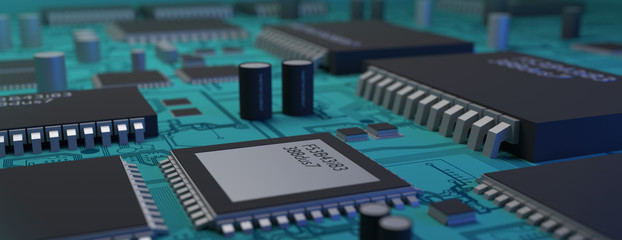 Computer Processor Chips and board, Technology 3D Art Rendering (3D Render)