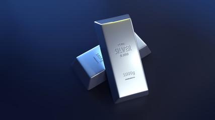 3D Silver Bar, Precious Metals (3D Rendering)