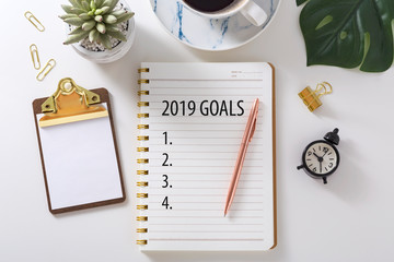2019 Goal list on notebook