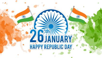 Indian Republic Day on January 26th Vector illustration, Indian flag and Ashoka chakra wheel(spinning wheel) on watercolor splash background.