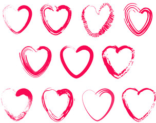 Set of different brush hearts. Isolated objects on white background. Vector