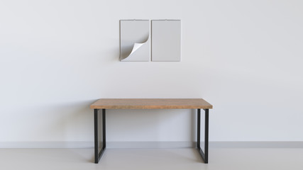 Blank white spiral calendar on the wall