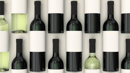 Pattern from bottles of red and white wine with blank labels