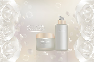 Beauty product, white cosmetic containers with advertising background ready to use, valentines concept skin care ad, illustration vector.