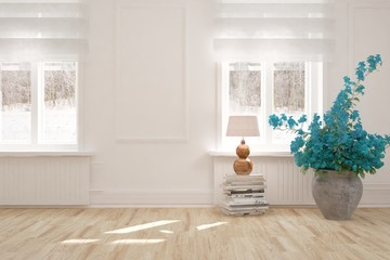 White empty room with winter landscape in window. Scandinavian interior design. 3D illustration