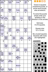 Clues-in-squares crossword puzzle, or arrow word puzzle, else arrowword, or scanword. Real size, answer included.