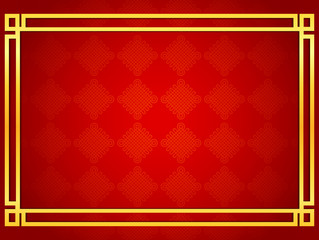 Blank chinese card background with golden line frames