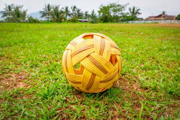 Sepak Takraw ball - rattan ball sport outdoor Sepak takraw on green grass field