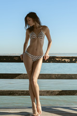 portrait of a beautiful woman in a bathing suit. girl posing on the beach on a warm summer day