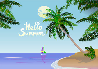 Vector Banner Summer vacation and travel design.On the ocean, among palm trees.
