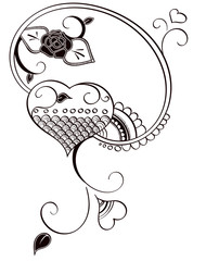 Heart and Rose Henna Inspired Decal