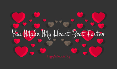 Happy Valentines Day typography poster with handwritten you make my heart beat faster text, isolated on black background. Vector Illustration EPS 10