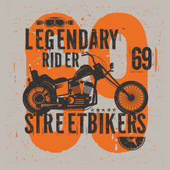 Motorcycle poster with text Legendary Rider,