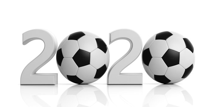 Soccer, football. New year 2020 with soccer ball isolated on white background. 3d illustration