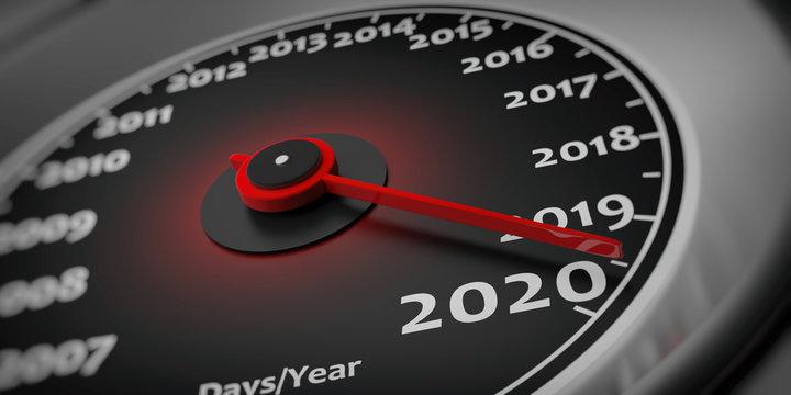 2020 new year. Car speedometer gauge closeup detail. 3d illustration