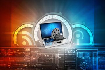 3d illustration Laptop with reel