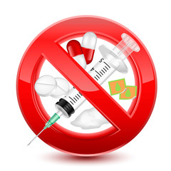 Forbidden no drugs red sign, vector illustration design isolated over a white background