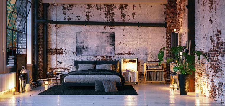 Bed in old vintage industrial loft apartment