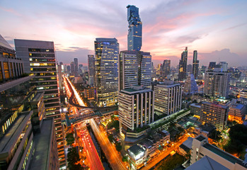 Cityscape view of Bangkok modern office business buildings