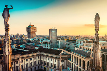 Fotomurales - beautiful view at sunset from Duomo cathedral of Milan roof top - italian trave destination - european trip