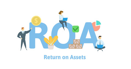 ROA, return on assets. Concept with keywords, letters and icons. Colored flat vector illustration. Isolated on white background.