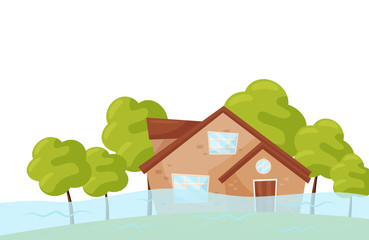 Flat vector scene with flooded house and green trees. Flood disaster. Natural catastrophe. Emergency situation