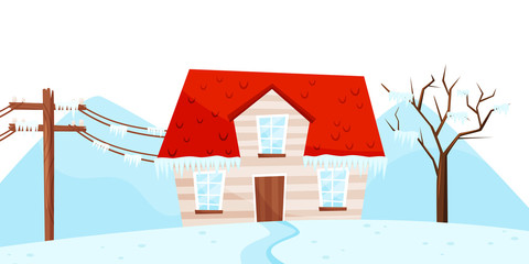 Winter view on small house, tree and electrical power pole. Ice storm. Strong frost. Natural disaster. Flat vector design