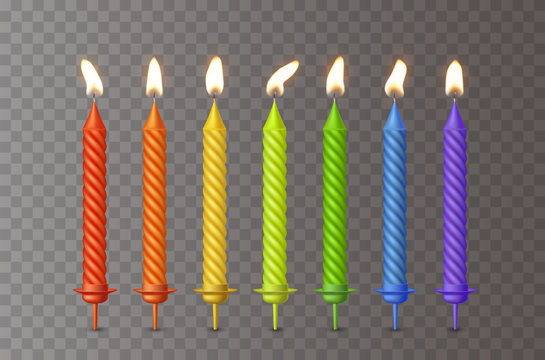 Candles with burning fire flame for birthday cake isolated on transparent background. Vector 3D realistic color candlelight elements set design.