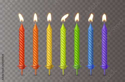 Candles With Burning Fire Flame For Birthday Cake Isolated On Transparent Background Vector 3D Realistic Color Candlelight Elements Set Design